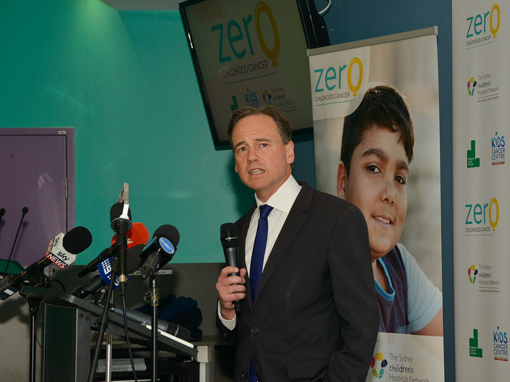 Greg Hunt speaking about the ZERO Childhood Cancer program
