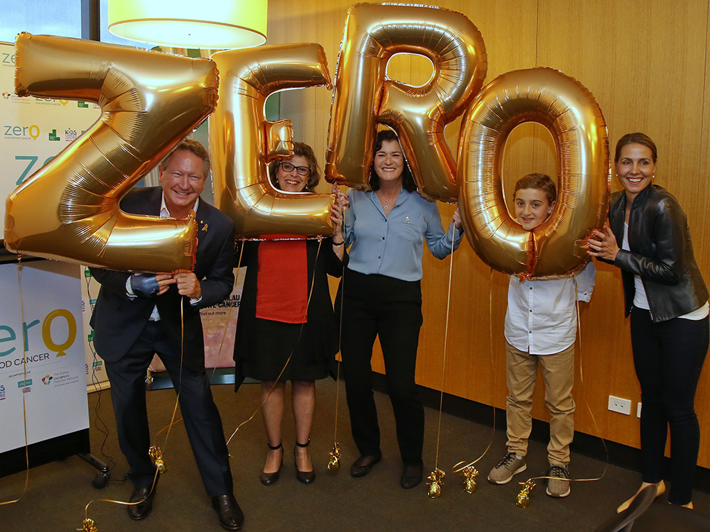 group of five people holding up balloons saying ZERO
