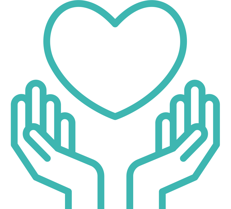 Hands and heart outreached icon