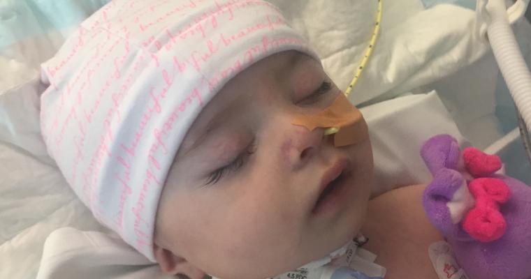 Young girl in hospital sleeping