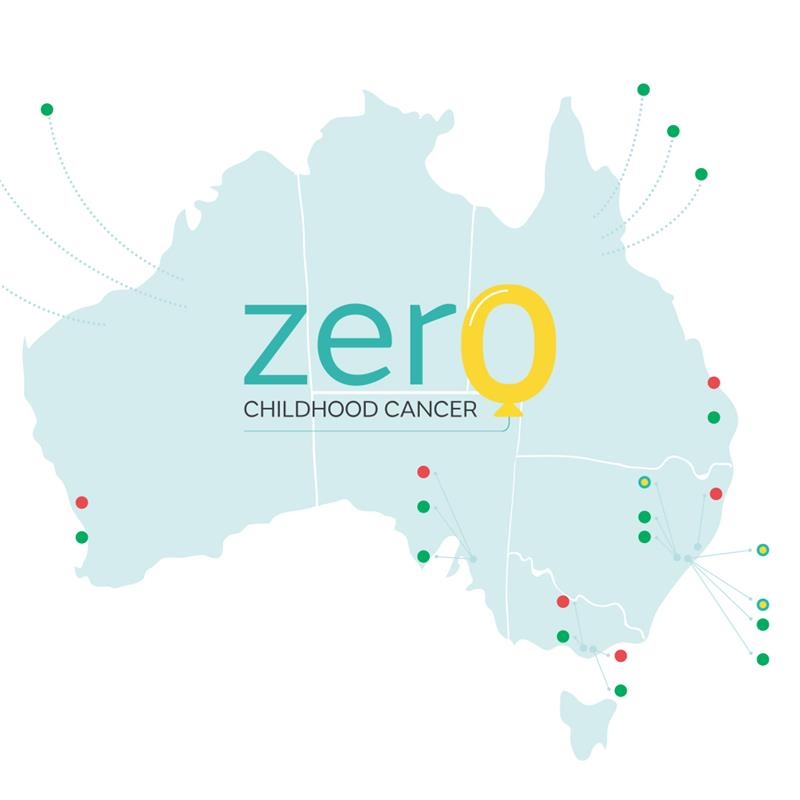 Map of Australia showing locations where the Zero Childhood Cancer program is available
